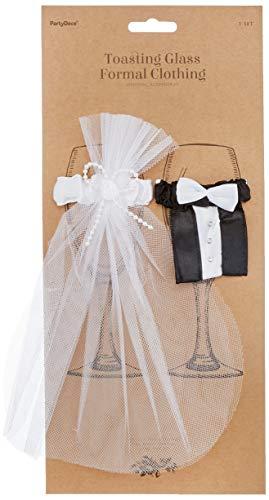 PartyDeco uk-karton–2er-Set Glasdekoration im Brautpaarlook
