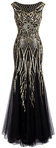 Angel-fashions Damen-Abendkleid mit Pailletten und Flügelärmeln, ausgestellt, Meerjungfrau-Abendkleid - - Klein