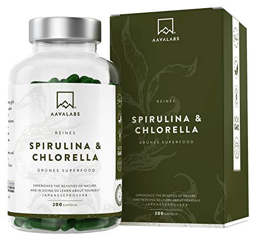 Spirulina Chlorella Algen Kapseln [ 1800 mg ] - 200 Pulver Kapseln - Hochdosiert, 100% vegan und glutenfrei - Hochwertige Pflanzeninhaltsstoffe aus Spirulina Alge - In Europa hergestellt.