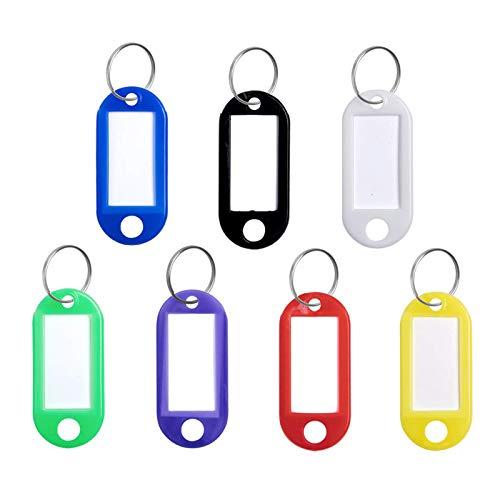 70 Stück Kunststoff Schlüsselanhänger Schlüssel Tags Etikett 7 Farben Schlüsselanhänger Schlüssel Anhänger Schlüssel Ring mit Kunststoff Etiketten für Zuhause Büros Pet ID Gepäckanhänger