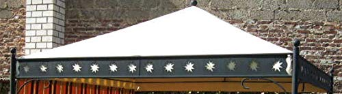 AHS-Korfu Ersatzdach aus LKW-PVC Plane, 680 g/m², Farbe beige, für Pavillon Siena Garden Korfu 3,5m x 3,5m TOP Sattler Anfertigung aufliegende Lüfterhaube, regenfest, wasserdicht