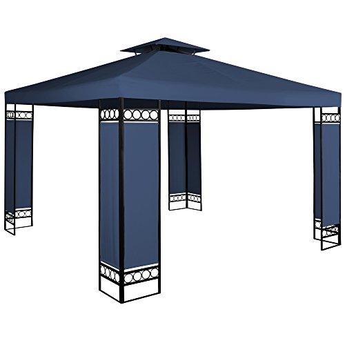 Deuba Pavillon Lorca 3x3m wasserabweisend UV-Schutz Metall Gestell 9m² Festzelt Partyzelt Gartenzelt Gartenpavillon Blau