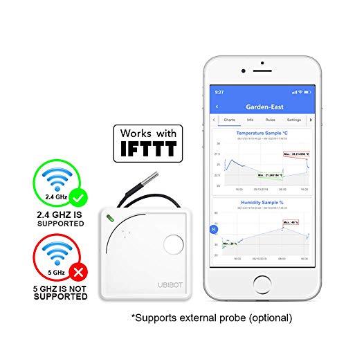 UbiBot Thermometer, kabellos, WLAN, ferngesteuert, Temperatur, Luftfeuchtigkeit, Licht, Umwelt-Sensor, mobile App Benachrichtigungen