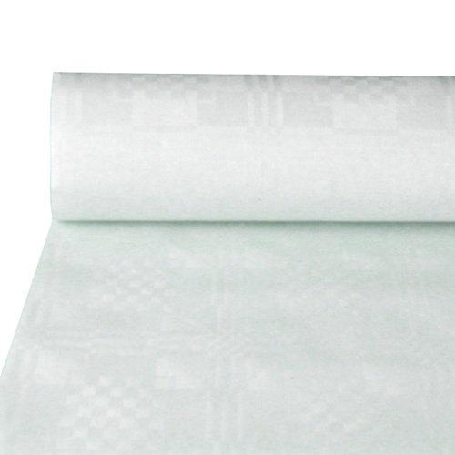 Papstar Papiertischtuch / Tischtuchrolle mit Damastprägung weiß (1 Stück), 50 x 0.8 m, einfach zuschneidbar, für Haushalt, Events, Outdoor-Party, Gartenfest, #12545