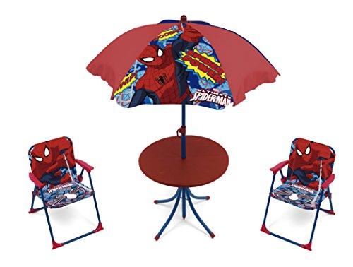 4tlg. Gartensitzgruppe Auswahl: Frozen - Star Wars - Spiderman - Hello Kitty - Minnie Maus Sitzgruppe Tisch + Sonnenschirm + 2x Stuhl Die Eiskönigin (Spiderman)