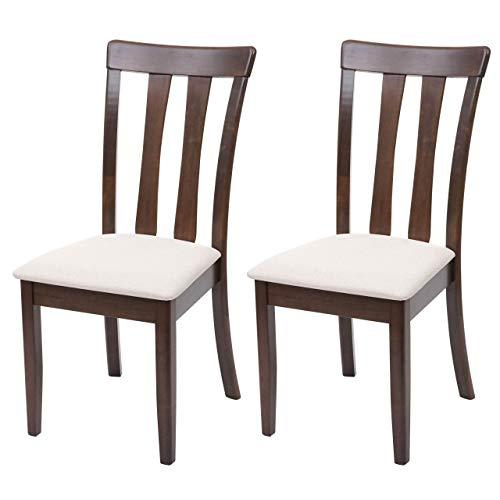 2X Esszimmerstuhl HWC-G46, Küchenstuhl Stuhl, Stoff/Textil Massiv-Holz - Dunkles Gestell, beige