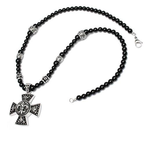 Schmuck-Checker Herren Halskette Perlen Bead Kette schwarz Kreuz Lilie Edelstahl Mensbead Achat Onyx hochwertig Bikerschmuck