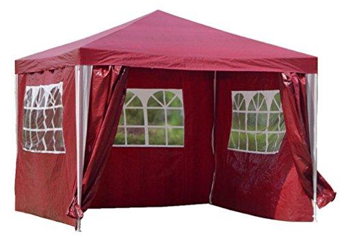 Kronenburg Pavillon WASSERDICHT PE Gartenzelt mit 4 Seitenteilen in Rot Farb- und Modellwahl
