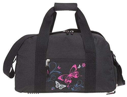 ELEPHANT/SPEAR Sporttasche mit Schuhfach/Naßfach Sport Tasche 12678 + Trinkflasche (Butterfly Black PINK)