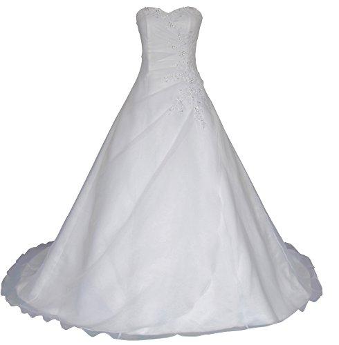 Romantic-Fashion Brautkleid Hochzeitskleid Weiß Modell W025 A-Linie Lang Satin Trägerlos Perlen Pailletten DE Größe 42