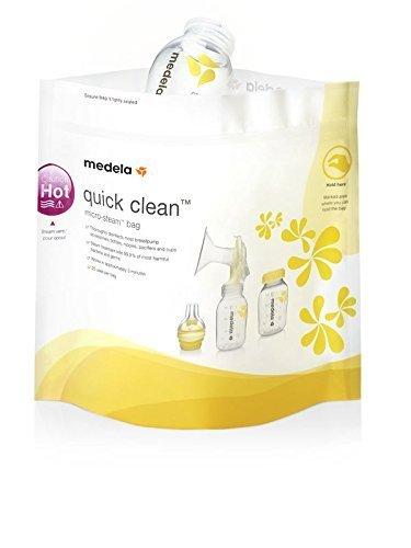 Medela Quick Clean Mikrowellenbeutel – Schnelle und bequeme Reinigung von Milchpumpen- und Stillzubehör – Wiederverwendbar – 5er-Pack