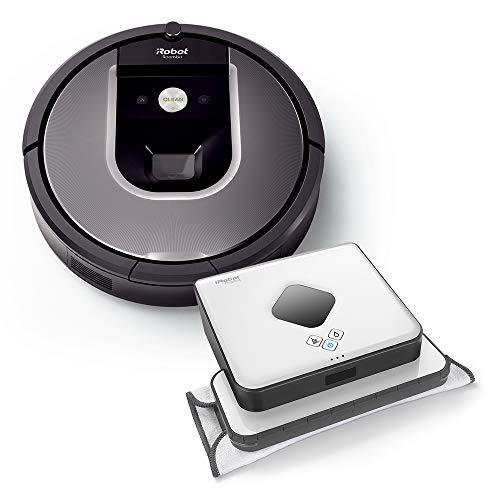 iRobot Roomba 960 plus Braava 390t Wischroboter im Set: Roomba saugt und Braava wischt, hohe Reinigungsleistung auf allen Böden, ideal für Tierhaare und große Räume, App-Steuerung