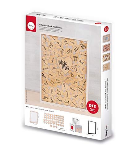 Rayher 62966505 Holz-Gästebuch mit Herzen für Hochzeit, Taufe und Geburtstag, Holzrahmen zum Stellen inkl. 50 Holzherzen, 35x26x4 cm