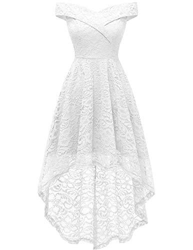 HomRain Midi Elegant Hochzeit Spitzenkleid Rockabilly Kleid Cocktail Abendkleider Floral Kleid für Hochzeit White M