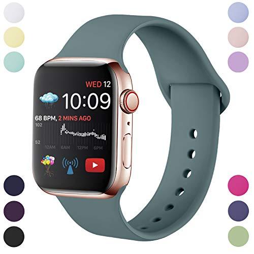 Hamily Armband Kompatibel für Apple Watch 38mm 40mm, Weiche Silikon Wasserdicht Ersatz Uhrenarmbänder für Apple Watch Series 5/4/3/2/1, S/M Kieferngrün