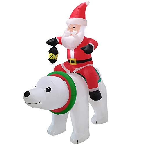 Siunwdiy Weihnachten Aufblasbare Outdoor-Hausgarten-Weihnachtsdekoration Feiertag Zeigt REIT Eisbär Weihnachtsmann LED Für Innen,Rot