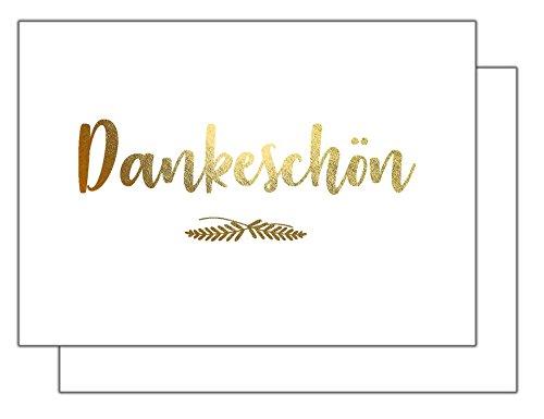 Dankeskarten GOLD - Dankeschön, Danksagung nach Hochzeit, Geburtstag, Konfirmation u.v.m. : 20 Karten mit 20 Umschlägen.