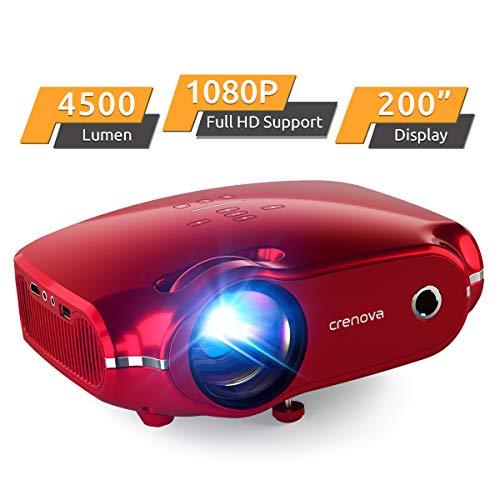 Projektor, portabler CrenovaMini HD Beamer 1080Punterstützt, 4500 LumenBeamer mit 200