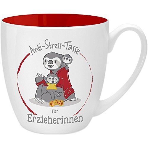 Gruss & Co 45489 Anti-Stress Tasse für Erzieherinnen, 45 cl, Geschenk, New Bone China, Rot, 9.5 cm