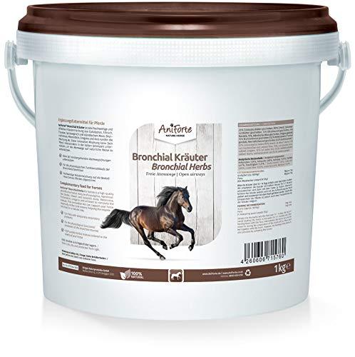 AniForte Bronchial Kräuter für Pferde 1kg - Natürliche Kräuter bei Husten, Schnupfen, Bronchialkräuter unterstützend bei Atemwegsbeschwerden, Pferdekräuter als Ergänzungsfutter für freie Atemwege