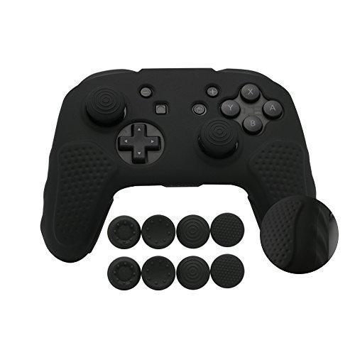 CHIN FAI für Nintendo Switch Pro Controller-Hülle, Anti-Rutsch-Silikon-Hautschutzhülle mit 8-teiligen Daumenstielen (Schwarz)