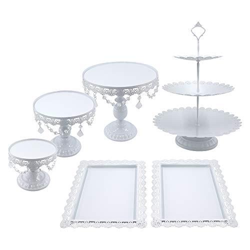 Snowtaros 6 Stück Tortenständer Rund Metall Dessert Display mit Kristallperlen, 3 Etagen Runde Cupcake Standfuß Vintage-Stil für Party Hochzeit Deko