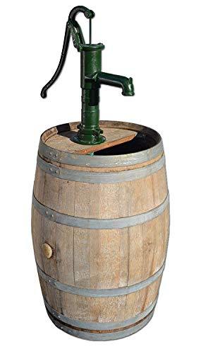 Temesso Regentonne, Regenfass, Holzfass mit Kleiner Handpumpe, Handschwengelpumpe - 225 Liter - H 130cm (Mit Schlauch und Ventil)