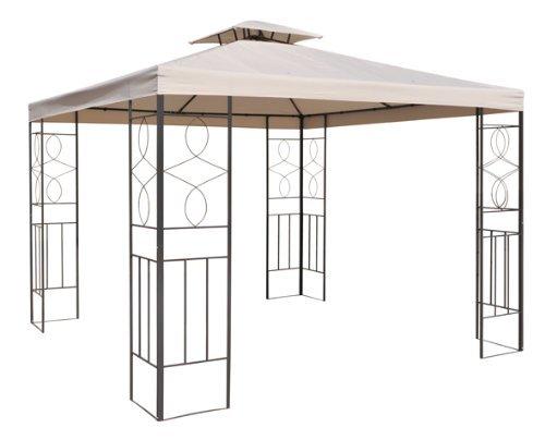 Smartweb Pavillondach 3x3m Beige Ersatzdach Wasserabweisend Dach für Pavillion mit Kamindach