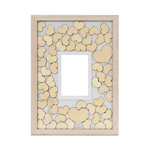 Lumaland Gästebuch aus Holz mit Fotorahmen in der Mitte + 75x individuell gestaltbare Holzherzen - Holzrahmen, Bilderrahmen zum Befüllen - Für Hochzeiten, Geburtstage