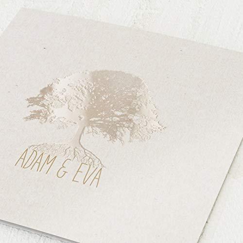 sendmoments Einladungskarten Hochzeit, Baum, 5er Klappkarten-Set quadratisch, personalisiert mit Wunschtext & persönlichen Bildern, mit Relieflack Veredelung, optional passende Design-Umschläge