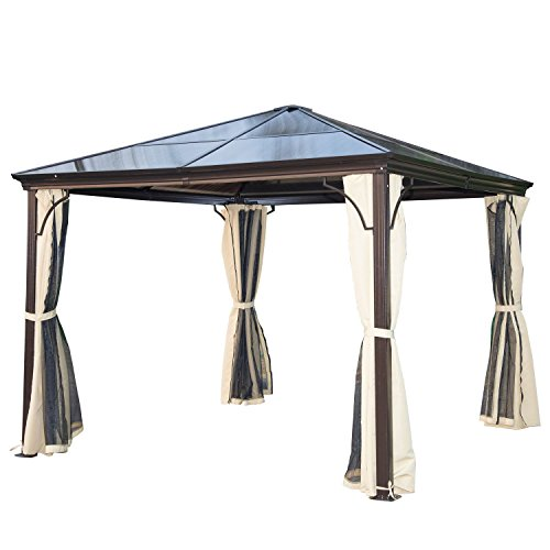 Outsunny Pavillon Gartenpavillon Alu Partyzelt Gartenzelt mit lichtdurchlässigem PC Dach 3 x 3 x 2,6 m