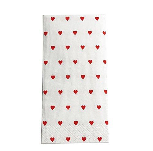 KATINGA 100 Herz-Taschentücher rot für Freudentränen auf der Hochzeit (100)