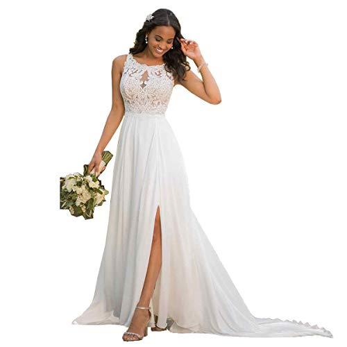 Nanger Damen Hochzeitskleider Standesamt Lang mit Schlitz Spitze Chiffon Brautkleider Strand Elfenbein 38