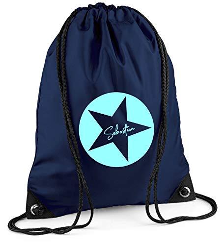 Turnbeutel mit Namen | Motiv Stern Sterne inkl. Namensdruck | Personalisieren & Bedrucken | Sportbeutel Schuhbeutel dunkel-blau für Jungen & Mädchen Kinder | Rucksack zum Zuziehen (dunkelblau)