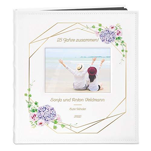 Murrano Fotoalbum zum Selbstgestalten mit Bildausschnitt + mit Aufdruck - für 240 Fotos 10x15-60 Schwarze Seiten - Größe 33x30cm - Weiß - Geschenk zur Hochzeit zum Hochzeitstag - Silberhochzeit