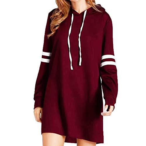 TWIFER Damen Neue Langarm Hoodie Langes Sweatshirt Mädchen Pullover Kleid