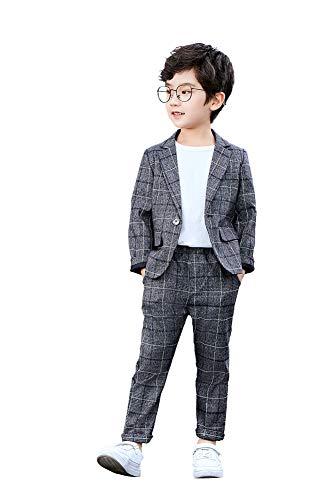 LOLANTA 2-teiliges Jungen festlichen Anzug Set Grau Plaid Kinder Blazer & Hosen Outfit, Freizeitkleidung oder Hochzeitskleid, Dunkelgrau, 140