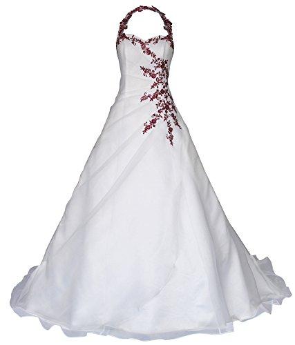 Romantic-Fashion Brautkleid Hochzeitskleid Neckholder Weiß Modell W021 A-Linie Satin Perlen Pailletten bordeauxrote Stickerei DE Größe 42