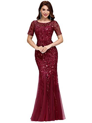 Ever-Pretty Damen Abendkleid Meerjungfrau Pailletten Tüll Partykleid Kurze Ärmel lang Burgund 52