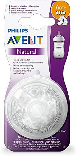 Philips Avent Natural Sauger SCF044 / 27, 6m+, schneller Nahrungsfluss, für Natural Flaschen, naturnahes Trinken, Anti-Kolik-System, transparent, 2er Pack