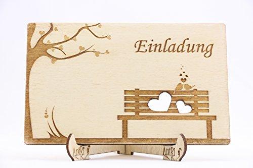 Einladungen Holz Hochzeit Einladungskarten Laser Graviert Einzigartig Hingucker Vögel Herzen Baum Bank I_073 (30)