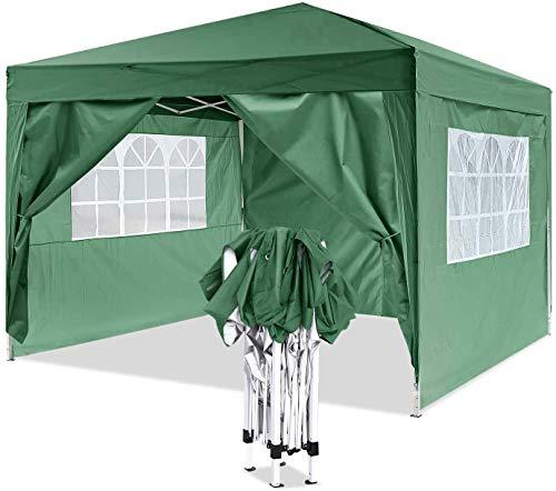 YUEBO Pavillon 3x3, Wasserdicht Faltbare Gartenpavillon Festival Sonnenschutz Faltpavillon mit 4 Seitenteilen und Tragetasche