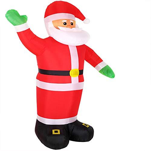 Monzana Aufblasbarer Weihnachtsmann XXL 250cm LED Beleuchtet Befestigungsmaterial Weihnachtsdeko Santa Außen Deko Figur
