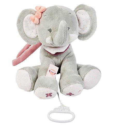 Nattou Spieluhr Elefant Adèle, Adèle und Valentine, 28 x 25 x 9cm, Grau/Rosa
