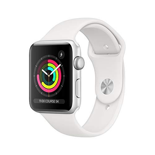 AppleWatch Series3 (GPS), 42mm Aluminiumgehäuse, Silber, mit Sportarmband, Weiß