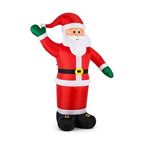 OneConcept Mr. Klaus - Weihnachtsdekoration, aufblasbarer Weihnachtsmann, Weihnachtsdeko, 240 cm Figur, geräuscharmes Gebläse, witterungsbeständig, spritzwassergeschützt IP44, LED, bunt