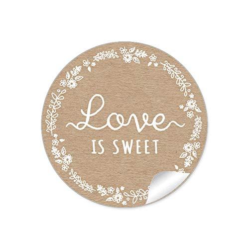24 STICKER Love is Sweet Etiketten für ihr Gastgeschenk in Natur Kraftpapier Look weiße Blütenranke als Danksagung für Geschenktüten Briefe Geschenke zur Hochzeit Geburtstag Taufe Taufe, 4 cm, matt