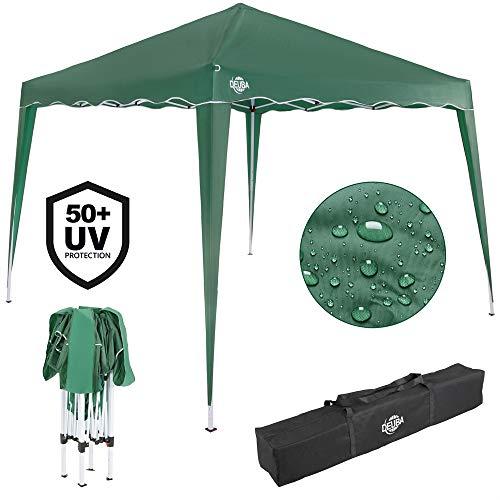 Deuba Pavillon Capri 3x3m wasserdicht Pop-Up inkl. Tasche UV-Schutz 50+ Faltpavillon Gartenzelt Partyzelt Grün