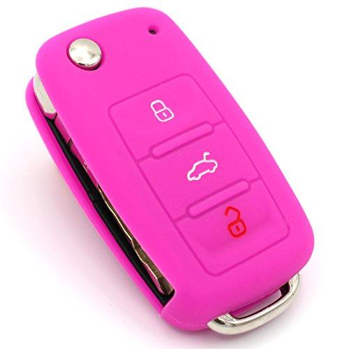 Schlüssel Hülle VA für 3 Tasten Auto Schlüssel Silikon Cover von Finest-Folia (Neon Pink)