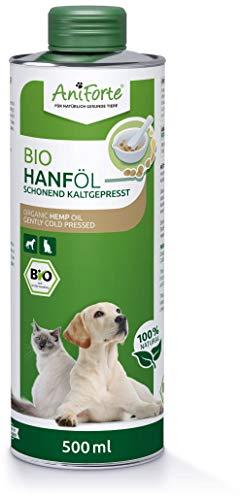 AniForte kaltgepresstes Bio Hanföl für Hunde & Katzen 500 ml - 100% reines Barf Öl als Zusatz, Premium Hanföl, Naturprodukt ohne Zusätze, Recyclebare Verpackung ohne BPA